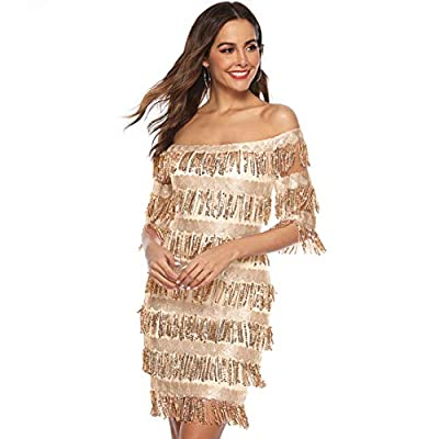 Chartou Womens Cute Off The Shoulder Sequin Fringe Mini Short Dresses Evening Gown