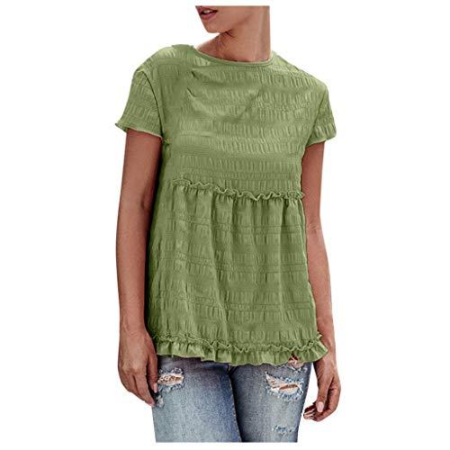 routinfly - Blusa de manga corta para mujer, para verano