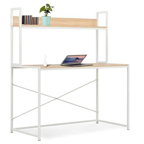 Mesa de ordenador de madera y metal con estantería, mesa de trabajo para PC industrial, estación de trabajo para dormitorio, salón, oficina, 120 x 60 x 138 cm