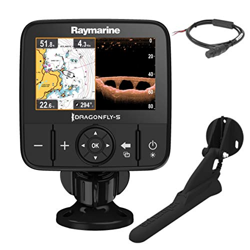 Raymarine E70293 Dragonfly-5Pro Sonar/GPS (12,7 cm (5 Zoll), integrierter Chirp Down Vision, CPT-DVS Geber, WiFi)