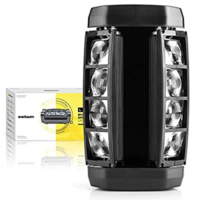 Everbeam Mini Spider Moving Head Stage Light 8 x 3W RGBW 4-in-1 Sound Activated/DMX 512/Master-Slave/Auto Running - Strobe Lights for Parties, DJ Shows, Live Events, Discos, Bars, Clubs, Karaoke