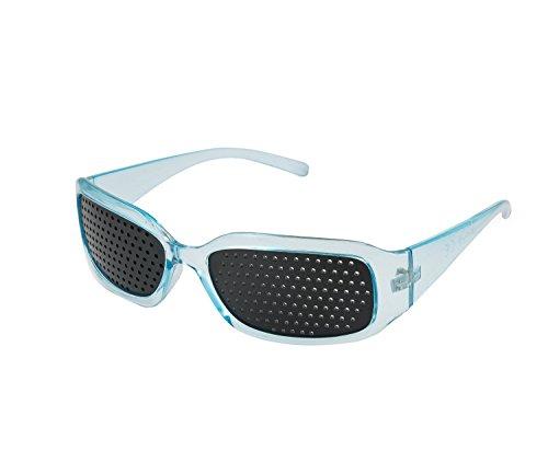 4sold - Gafas reticulares de color negro y perforadas para ejercicios de mejora de visión, hombre mujer Infantil, azul, talla única