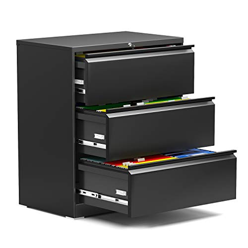 AOBABO 3 Drawer Lateral File Cabinet with Lock, Black 28.25'' W Letter/Legal A4 Size Metal Storage Cabinet,Locking File Cabinet for Office,Folding Type Screwless Design,Assembly Required