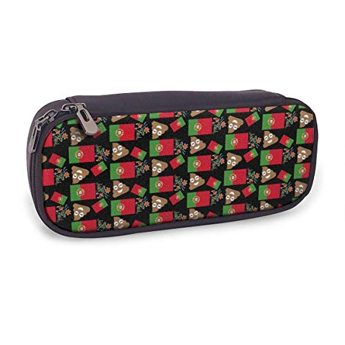 Ahdyr Pencil Case Big Capacity Makeup Pen Pouch Bag Leather Durable Students Stationery Organizer for School Office Portugal Flag and Popo Flower