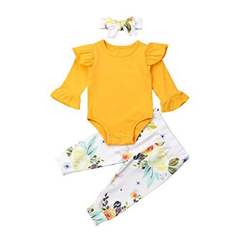Newborn Baby Girl Outfit Set Flared Sleeve Tops Romper+Floral Leggings Pants Clothes Set (Yellow, 0-3 Month)