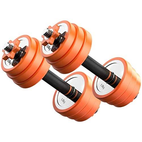 Mancuerna de Pesas Juego de mancuernas ajustable de naranja Fitness, pesas Conjunto de pesas Levantamiento de barra para el gimnasio para el hogar Entrenamiento de culturismo, placas de barra Entrenam