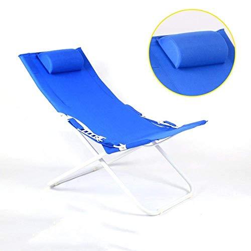 WJJJ Sillas de Patio para niños con cojín de césped de Metal Viaje al Aire Libre Compacto Plegable Playa Taburete inclinable Asiento (Color: Azul)