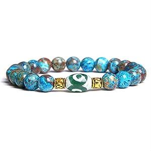 Männer Naturmagie Stein Dzi Stein Perlen 3 Augen Blaue Spitze Verrückte Achate Armband Männliche Religion Geschenk Schmuck Armband 21Cm