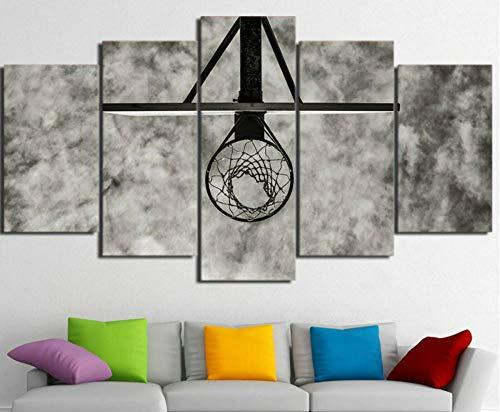 BHJIO Impresiones En Lienzo 5 Piezas Anillo De Baloncesto Circular Poster HD En Lienzo Modular Modern Interior Decorations Wall Art-Tamaño Regalo 150 * 80Cm.
