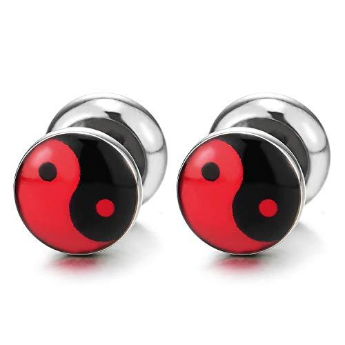 Yin Yang Enchufe Falso Fake Plug, Pendientes de Hombre Mujer, Aretes, Acero Enchufe Falso Fake Cheater Plugs Gauges