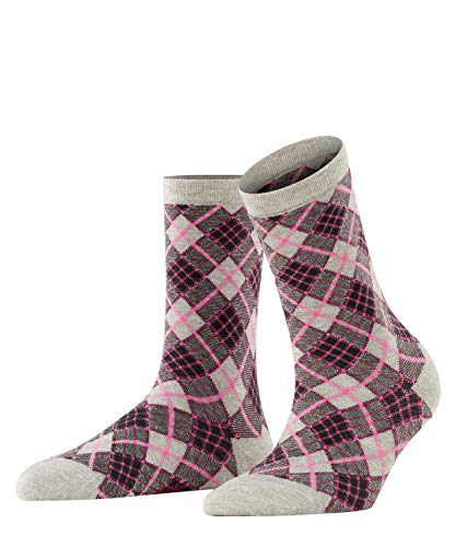 BURLINGTON Damen Socken Ladywell Rhomb, Viskose Baumwolle, 1 Paar, Grau (Fume 3355), 36-41 (UK 3.5-7 Ι US 6-9.5)