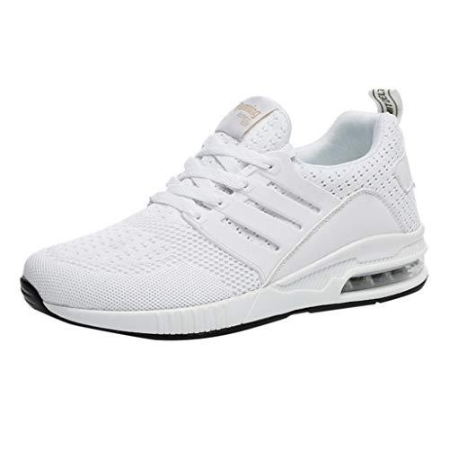 Sneakers für Herren/Skxinn Unisex Laufschuhe Straßenlaufschuhe Casual Sportschuhe Leichte Trainingsschuhe Turnschuhe rutschfeste Atmungsaktiv Mode Freizeitschuhe 36-44 EU Reduziert(Weiß,40 EU)