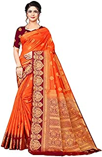 Neerav Exports Banarasi Soft Silk With Rich Pallu Traditional Jacquard Saree (Orange)