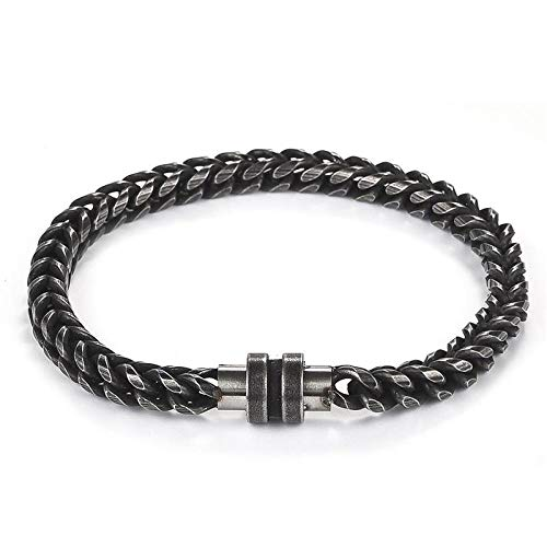 Jewellery Bracelets Bangle For Womens Retro Men Jewelry Bracelet Stainless Steel Chain Clasp Leather Bangle Punk Hiphop Male Wristband Christmas Party Gift-1_18.5Cm