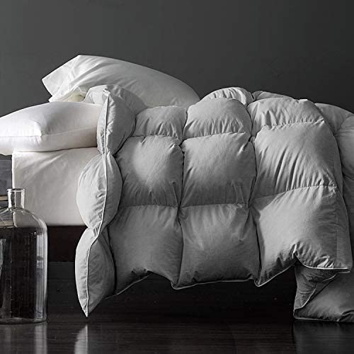 Premium Silver Down Comforter King Size All Season Gray Grey 100 Egyptian Cotton Cover Down product image