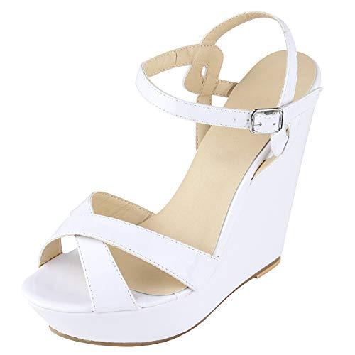 Wealsex Damen Plattform Sandaletten mit Wedge Pumps Hochzeit Abiball Open Toe Sandalen (Weiß-2,38)