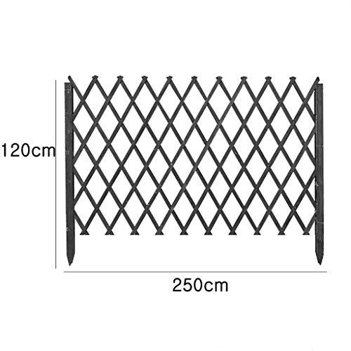 Amiiaz Clôture de Jardin Garde-Corps Clôture en Bois carbonisé Barrière en Bois Pliable anticorrosion Treillis Clôture de Porte en Treillis inséré dans la clôture de sol-120cm