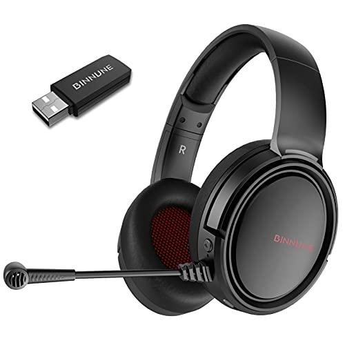 BINNUNE Cascos Gaming Inalambricos Auriculares Gamer con Microfono para PC PS4 PS5...