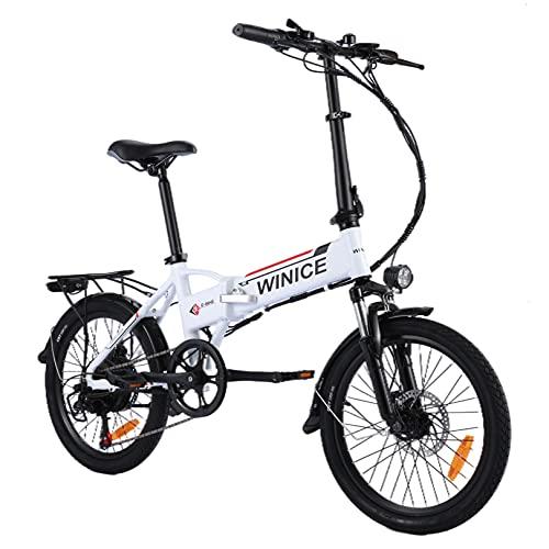 Vivi 20 Zoll Elektrofahrrad E-Bike, Klapprad Elektrisches mit 250W Motor & Abnehmbare 36V 8 Ah Lithiumbatterie,Shimano 7-Gang-Getriebe,Faltbares Elektrofahrrad für Erwachsene (Weiß - Gabelfederung)