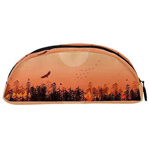 BENNIGIRY Federmäppchen Adler Wald Sonnenuntergang Federmäppchen, große Kapazität, Stifttasche, Schreibtisch-Organizer, halbrund, für Schule und Bürobedarf