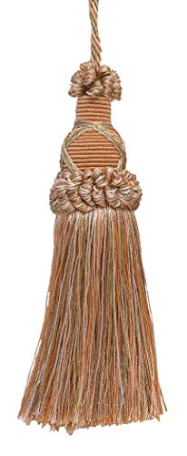 Decorative 14cm Key Tassel, Lt Peach, Olive Green, Ivory Imperial II Collection Style# KTIC Color: PRAIRIE PEACH - 3853