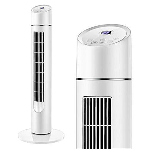 SMC Ventilador Ventilador eléctrico Ventilador de Torre Ventilador automático Vertical silencioso de Escritorio Ventilador sin Hojas (Color : Blanco)