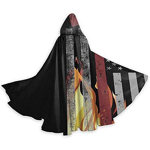 KDU Fashion Cape toveraar, vuur bijl, de Amerikaanse vlag omhang met capuchon premium magische mantel voor heks magische kostuums 40x150cm