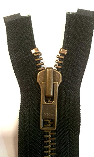 YKK Reißverschluss starker 8 mm 1 Weg teilbar schwarz 75 cm Metall Metallzähne