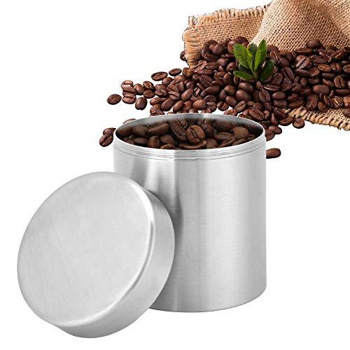 Theeblik, 400 ml roestvrijstalen koffieblik, roestvrijstalen blikje voor thee Koffie Suikeropslag, huishoudkeukenblikken, bevat een verzegelde hoes, effectief vochtbestendig, stofdicht
