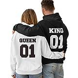 Zanubo Pack de 2 Sudaderas para Parejas King 01 Bold y Queen 01 Bold (Negro+Blanco) (Hombre XL + Mujer XL)
