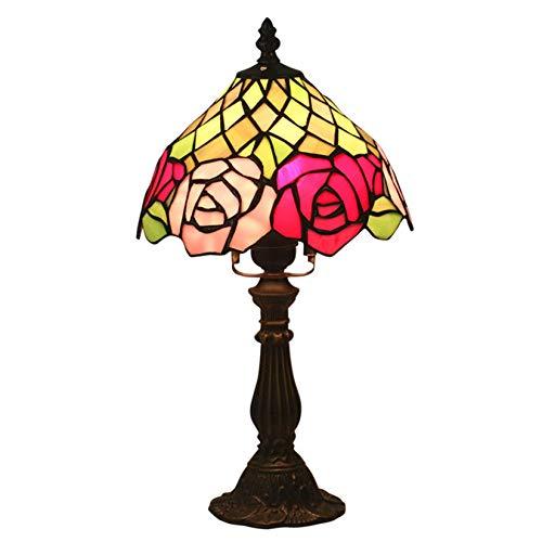 MISLD Lámparas De Mesa para Esposa, Estilo Tiffany Dormitorio Night Value AK Decline Lámpara De Lucha, Vidrio De 8 Pulgadas Pantalla De Rosa Roja