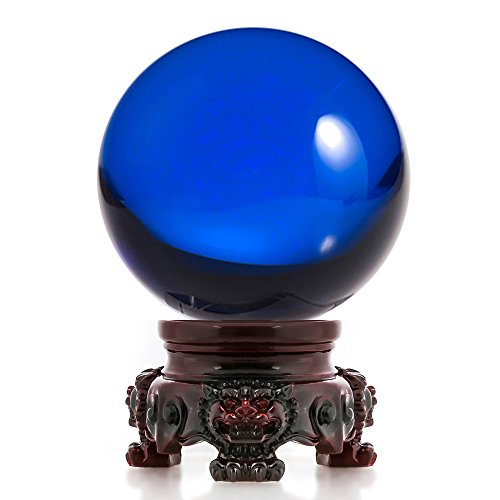Amlong Crystal 3 inch (80mm) Blue Crystal Ball with Redwood Lion Resin Stand and Gift Box for Decorative Ball, Lensball Photography, Gazing Divination or Feng Shui, and Fortune Telling Ball