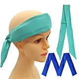 Neck Ice Wrap, Cooling Neck Wrap, Ice Bandana Cooling Ice Pack for Neck, Head, Shoulder, Belly (Teal A)