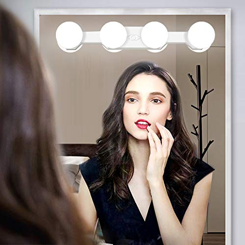 Portable LED Makeup Lights,Cordless Rechargeable Professional LED Vanity Mirror Light with 4 LED Bulbs,Simulated Daylight for Bathroom Makeup Dressing Table Lights,LED Mirror Lights,Dresser Lights