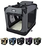 EliteField 3-Door Folding Soft Dog Crate, Indoor & Outdoor Pet Home, Multiple Sizes and Colors Available (36' L x 24' W x 28' H, Gray)