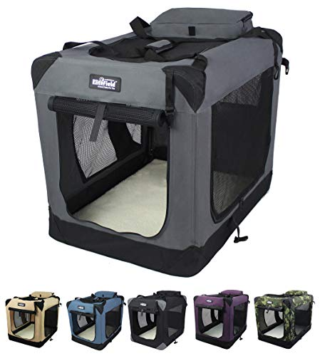 EliteField 3-Door Folding Soft Dog Crate, Indoor & Outdoor Pet Home, Multiple Sizes and Colors Available (30' L x 21' W x 24' H, Gray)