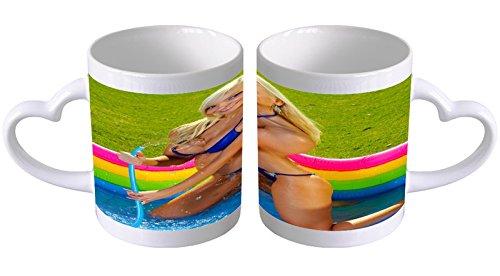 Kaffeetasse mit Herzgriff Kaffeebecher Becher Tasse Mit Fotodruck Fototasse Sexy Fun Blondine Pool Herz Griff