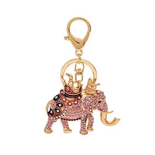 SJHFG Lindo llavero de cristal bolso bolso encantos colgante llaveros decoración accesorios regalo de cumpleaños para niña, rosa