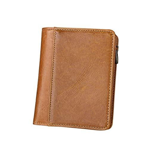 ZHAOXQ Herrenbrieftasche, Leder, einbruchsicherer, Braun Kaffee, ID-Fenster, faltbar (Color : Brown)