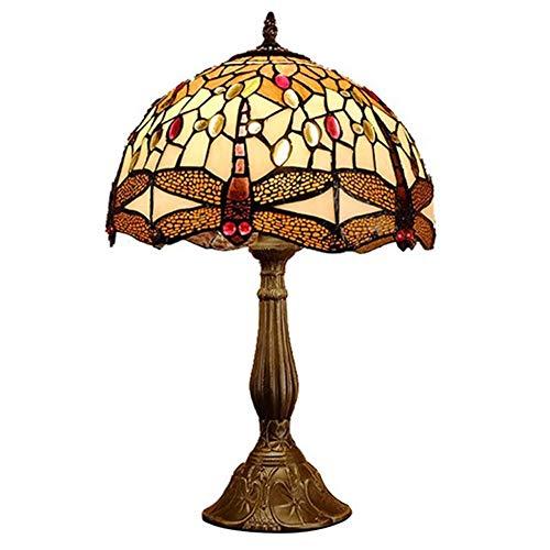 Mesita de noche retro del dormitorio del estudio de la sala de estar, lámpara de mesa decorativa de la libélula