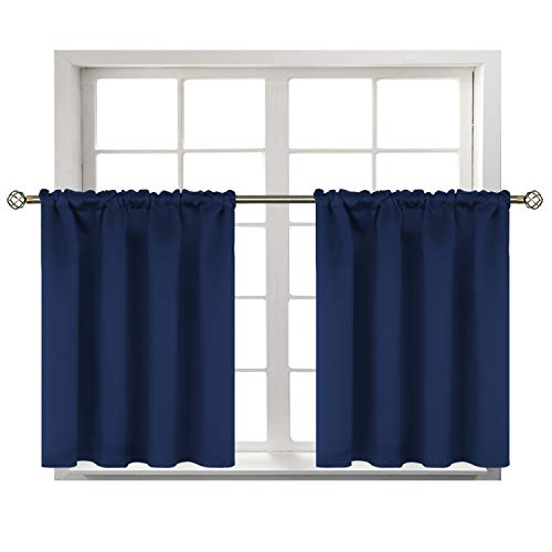 BGment Small Window Room Darkening Curtains for Kitchen- Thermal Insulated Tier Valance Curtain for Bedroom, 42 x 36 Inch, 2 Panels, Navy Blue