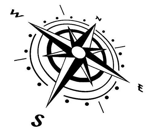 Generisch Kompass Aufkleber, Silhouette Aufkleber (92/1) (Farbauswahl Siehe Farbtabelle, 40 x 33 m)