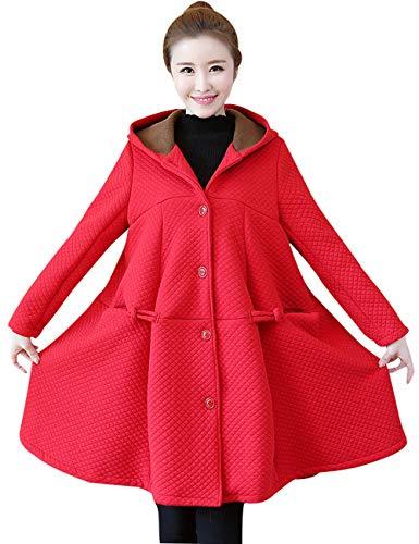 Youlee Mujeres Gran Dobladillo Abrigo de Lana Ropa de Maternidad Rojo M