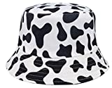 Animal Pattern Bucket Hat Cow Printed UV Protection Reversible Fisherman Hat for Women Men Sun Hats Black