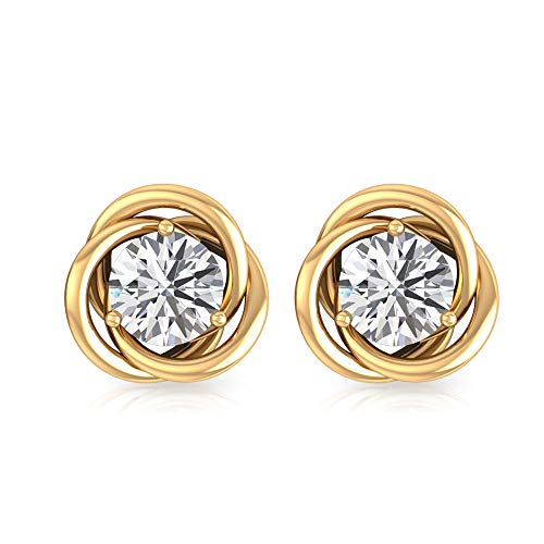 1 Ct Art Deco Solitaire Moissanite Wedding Earring, IDCL Certified Gemstone DEF-VS1 Color Clarity Earring, Statement Interlocking Gold Stud Earring, 18K Yellow Gold, Pair