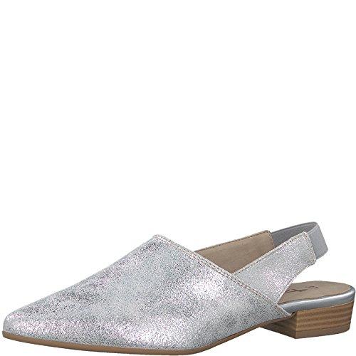 Tamaris 1-1-29405-30 Damen Sling Pumps, Sommerschuhe für die modebewusste Frau metallic (Silver Metall.), EU 38