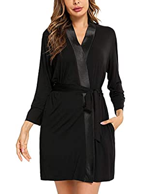 ARANEE Women's Cotton Kimono Robes Comfy Bathrobe Soft Sleepwear Lightweight Short Robe Ladies Loungewear Black