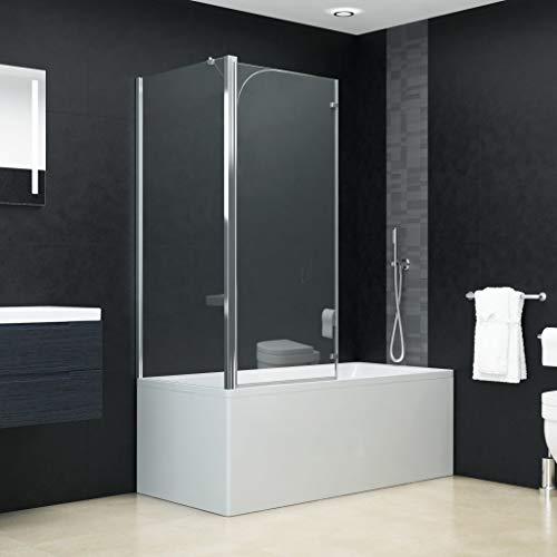 Duschwand Duschkabine Duschtrennwand Faltwand Duschabtrennung Badewannenaufsatz ESG 4 mm Sicherheitsglas 120x68x140 cm Verstellbereich von 67-79 cm Doppelt Faltbar