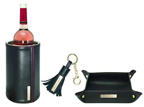 LTD. Edición de 3 piezas. Set de enfriador de botellas de piel de napa de cordero para exteriores, incluye vaciador de bolsillo de piel y llavero con borla, color negro