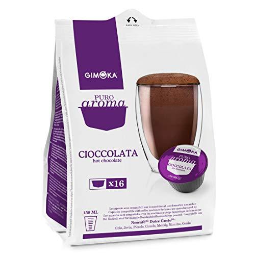 Gimoka Puro Aroma Cioccolata, Cioccolata Calda, Capsule di Cacao Compatibile con Nescafé Dolce Gusto, Lilla 16 Capsule / Porzioni